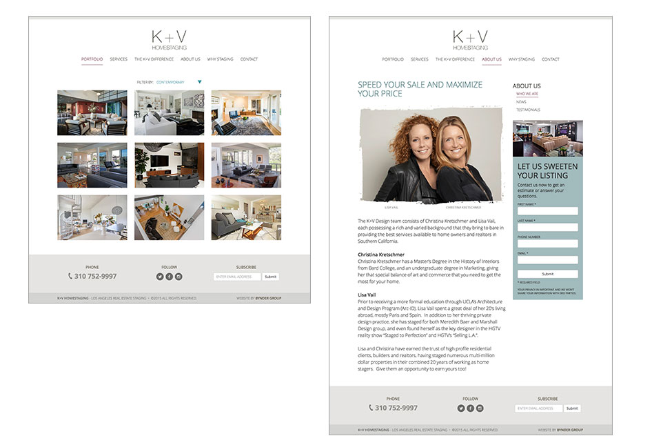 Bynder Group provides business strategy, marketing and design services for K+V Home Staging