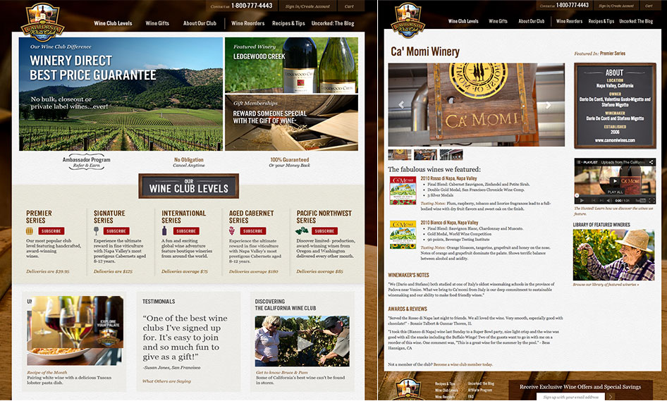 Web design for The California Wine Club by Bynder Group