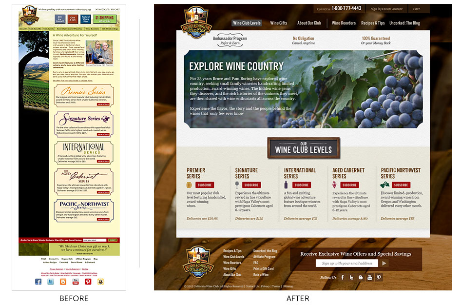 before and after web design for The California Wine Club by Bynder Group