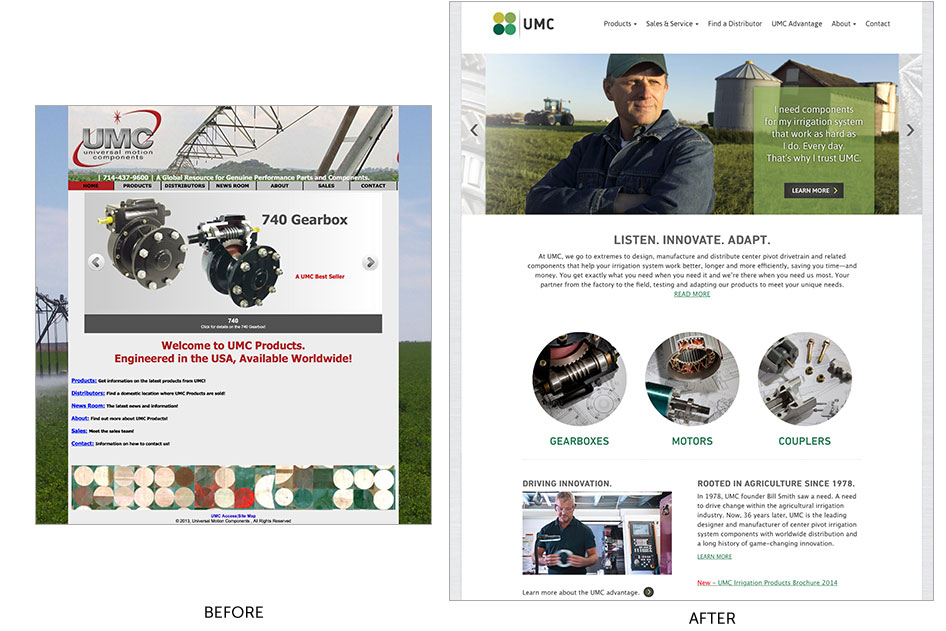before and after web design for UMC by bynder group